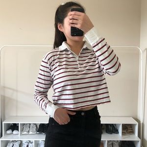 Red and black striped collared crop top